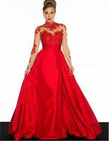 Rote abendkleider lang mit armel