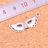 Wholesale Masquerade Charms - 145pcs Antique silver Charms party mask masquerade mardi gras Pendant Fit Bracelets Necklace DIY Metal Jewelry Making 31*12mm