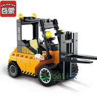 Wholesale Road Roller Toys - City Series Toys Road Roller Tractor Model Sweeper Truck Kids Gifts Building Blocks 2pcs lot Forklift Truck Christmas Gift