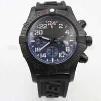 Wholesale 48mm Quartz - Wholesale - free ship Men's luxury high-quality quartz chronograph black rubber strap 48mm big dial all the dial work