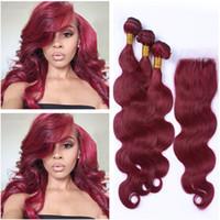 Wholesale Human Front Hair Weave - Burgundy 4x4 Front Lace Closure With 3Bundles Virgin Peruvian #99J Wine Red Body Wave Human Hair Weaves With Lace Closure 4Pcs Lot