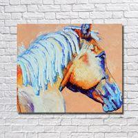 weißes pferd gut großhandel-Handgemalte gute qualität weiß leinwand ölgemälde für großhandel tier thema chinesische famouse pferdekopf ölgemälde