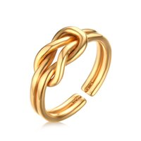 Wholesale Knot Ring Gold - Stainless Steel Sailor Knot Rings Love Knot Jewelry - Silver, Gold