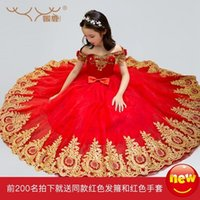 Wholesale children belle costume for sale - Group buy Free ship children girls red golden embroidery beading medieval dress Renaissance Gown Costume Victorian dress Belle Ball