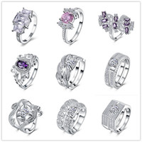 Wholesale Ordered Ring - Mixed Order 9pcs beautiful 925 sterling silver plated wedding   engagement ring with AAAA zircon woman fashion jewelry christmas gift