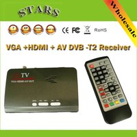 Wholesale Tv Tuner T2 - Wholesale-1080P Full HD Mpeg 4 H.264 Digital Terrestrial HDMI DVB-T T2 TV Box VGA AV CVBS TV Tuner Receiver Converter With Remote Control