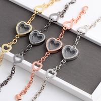 Wholesale Glass Locket Bracelet Chain - New Waterproof DIY Glass Heart Lockets chain For Women Men stainless steel Living Memory Locket Pendant Bracelet