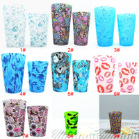 Wholesale Silicone Sleeve Cups - Silicone Cup Bohemia National Glasses Camouflage Lip Skull Mugs Water Bottle Outdoor Cups Beer Coffee Whiskey Drinkware Mug 9 Styles WX-C46