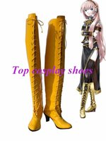 Wholesale Megurine Luka Costumes - Wholesale-Freeshipping Vocaloid Diva Megurine Luka Cosplay High Boots long yellow boots shoes custom-made for Halloween Christmas festival