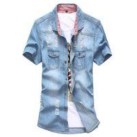 camisa de denim patchwork azul venda por atacado-Atacado-New Men Denim Azul Blusa Camisa Bandeira dos EUA REINO UNIDO Manga Curta Patchwork Camisa Do Vintage Blusa Jean camisas Camisas Da Marca 4 Cores M-3XL