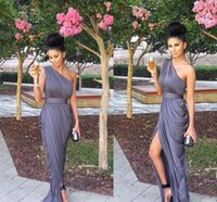 Wholesale Dress Elegant Grey One Shoulder - 2016 Custom Made Dresses Evening Wear Real Picture Sexy One Shoulder Elegant Grey Sheath Backless High Side Split Formal Occasion Gowns