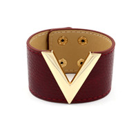 Wholesale Leather Word Bracelets - Wholesale- 2017 Women Fashion Pop V Word Simple Wide Leather Hand Bracelet Classic All match Punk Ladies Bangle Jewelry