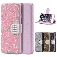 Luxo Full Body Bling Glitter Diamond Seda Padrão Flip Leather Wallet Stand Case para iPhone 5 5S 6 6S Plus Samsung Galaxy S4 S5 S6 S7 Edge