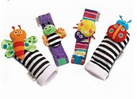 Wholesale Garden Bug Socks - 2015 New arrival baby rattle baby toys Lamaze plush Garden Bug Wrist Rattle+Foot Socks 4 Styles Free Shipping 120set lot