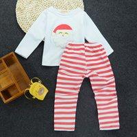 Wholesale White Santa Claus Suit - Baby Kids Christmas Clothes Santa Claus Costume Girl Boutique Clothes Set Kids Xmas Suit Cotton Shirt+Long Striped Pants Christmas Children
