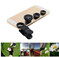 Wholesale Clip Hot Mobile - Hot sale 3 in 1 360 degree mobile phone fish eye universal micro camera lenses clip for all cellphone