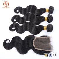Wholesale Skin Closures - New arrival hair extension 3pcs peruvian hair bundles with 1pcs lace closure body wave peruvian hair wefts tangle free