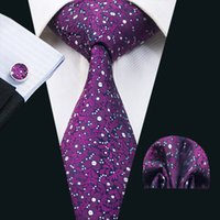 Mens Violet Neck Silk Tie Set Classic Floral Tie Necktei Hankerchief Cufflinks Fomal Business Meeting Wedding Party N-1396