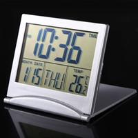 große timer-uhren großhandel-Große digitale Kalender Wecker Display Datum Timer Temperatur flexible Mini Schreibtisch Digital LCD Thermometer Abdeckung 100 Stücke