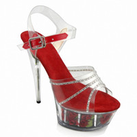 Clear Crystal 15CM Super High Heel Platforms Pole Dance / Performance / Star / Model Shoes, Chaussures de mariage