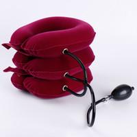 ingrosso trazione posteriore-Dispositivo di protezione per il collo morbido di trazione per il collo in velluto Comoda unità per la testa + schiena + spalla + dolore al collo Assistenza sanitaria Usare un po 'di tempo Facilitare il dolore Durevole