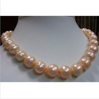 "Wholesale Earrings South Sea Pearl Necklaces - 11-13MM real natural South Sea Pink Baroque Pearl Necklace 18""+ gift earring"