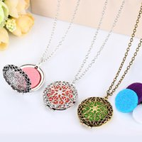 Wholesale silver chains flower heart pendants resale online - Aromatherapy Locket Necklace Silver Bronze Color With Madala Flower Shaped Pendant Oil Essential Diffuser Necklace For Women