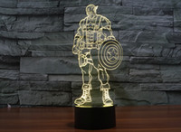 Wholesale Captain America Cup - 2017 Captain America Style 3D Night Lamp Optical Night Light Colorful Night Light DC 5V Factory Wholesale