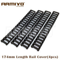 Wholesale Armiyo Slot Snap on quot mm Length Ladder Rubber Rail Cover Airsoft Handguard Protector Fit mm Picatinny Rail Black