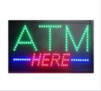 цены на борт оптовых-20PCS / Lot, оптовая цена, 19''x10''x0.5 'Анимированная мигающая вспышка с кнопкой включения / выключения Многоцветная светодиодная открытая вывеска LED ATM at sign sign
