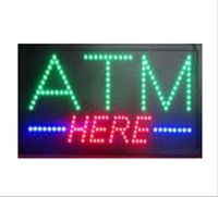 Wholesale Buttons Restaurant - 20PCS Lot , wholesale price ,19''x10''x0.5' Animated flashing come with on off button Multicolor led open sign board LED ATM here sign