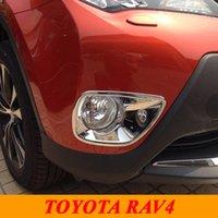 Wholesale Lights For Toyota Rav4 - For 2014 2015 Toyota RAV4 Rav 4 ABS Chrome Front Head Fog Light Lamp Cover Trim Fog Light Cover Exterior Car Styling Accessories