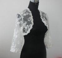 Wholesale navy blue lace bolero for sale - Group buy Lace Bridal Jacket Bolero Long Sleeves Wedding Jacket Bolero Shrug White Ivory Custom Made Lace Jacket Bolero