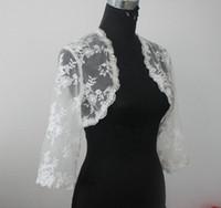 fazer bolero venda por atacado-Lace Bridal Jacket Bolero 3/4 Mangas Compridas Casaco de Casamento Bolero Shrug Branco Marfim Custom Made Lace Jacket Bolero