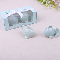 "Wholesale Wedding Gift Kissing Fish - ""The Perfect Pair"" Kiss Fish Ceramic Salt & Pepper Shaker Wedding Favors Gifts Souvenir Blue Cute 100SETS=200PCS"