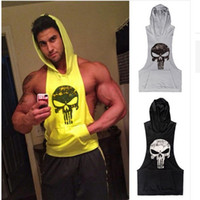 Wholesale Skull Vest Tops - GYM hoodie cotton vest with Hat gym shark Skulls sporting tank top high quality tops tshirt for men tank tops gymshark