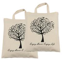 Wholesale Beige Tree - Pure Cotton Bag Shopping bags 2pcs Music Tree Cotton Bag- 2pcs Beige