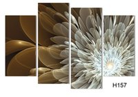 Wholesale Wealth Flower - 4Panel Canvas Wall Painting Wealth And Luxury Golden Flowers Art Picture Home Decor On Canvas Modern Wall Painting h 057