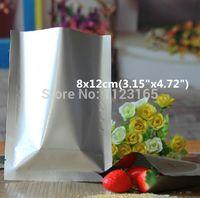 Wholesale White Aluminum Foil - 200pcs lot,8x12cm Silver white heat seal Pure Aluminum bags - Plastic Mylar Foil Vacuum Pouches smell proof food storage sack
