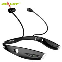 Wholesale Sport Fashion Headphone For Iphone - Wholesale-New Fashion Neckband Bluetooth Sport Stereo Headset Zealots H1 HiFi Headphones With Mic For iPhone Samsung Handfree Call