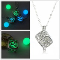 Fashion square pendant bead - Fashion Luminous Beads Square Box of Necklace Censer Aromatherapy Essential Oil Diffuser Locket Water Drop Pendant Necklaces For Women
