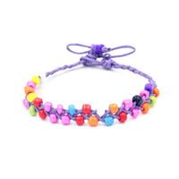 afrikanische freundschaftsarmbänder großhandel-Böhmen Perlen Armbänder Großhandel Lot Handgemachte Hanf Freundschaft Armbänder Bunte Afrikanische Perlen Armbänder