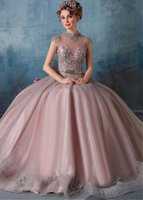 Wholesale Modest Beaded Wedding Gowns - 2017 Newest Ball Gown High Neck Organza Beaded Cheap Modest Bridal Gowns Cheap Colorful Wedding Dresses
