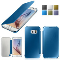 Wholesale Dropshipping Flip Case - Wholesale Dropshipping Factory Cheapest Lowest Price Sale Samsung Galaxy S6 & S6 Edge Mirror Clear View Screen Flip Leather Case Smart Cover