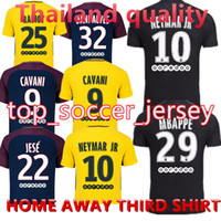 Wholesale Black Gold Fans - Thai quality 17 18 Paris home away third black soccer uniform fans version football shirts soccer jerseys neymar jr di maria cavani verratt