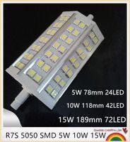 luces de inundación llevadas smd al por mayor-10PCS SMD 5050 R7S Bombilla Led Lámpara de maíz 5W 10W 15W Proyector AC85-265V Inundación Ahorro de energía Luz de iluminación decorativa para el hogar