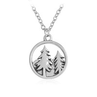 Wholesale tree pendant for men - Tree Necklace Charm Pine Tree Mountain Pendant Necklaces for Women Men Girl Silver Color Nature Forest Jewelry Gift