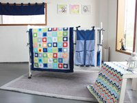Wholesale Diaper Bag Pieces - 9 Pieces Child Bedding Sets Embroidered Colorful Tetris Baby Bedding Set include Quilt Bumper Mattress Cover Bed Skirt Blankets Diaper Bag