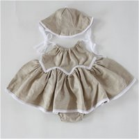 Wholesale Baby Dress Hat Set - Summer Baby Clothes ,Swing Baby Girls Dress Set , Linen cotton swing baby grirls dress set,Baby Swing Top Bloomer Set With hat