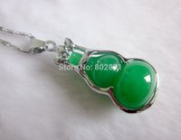 Wholesale Carved Jade Charms - Beautiful Carved Art Natural Green Jade Jewelry Charms Pendant-Gourd